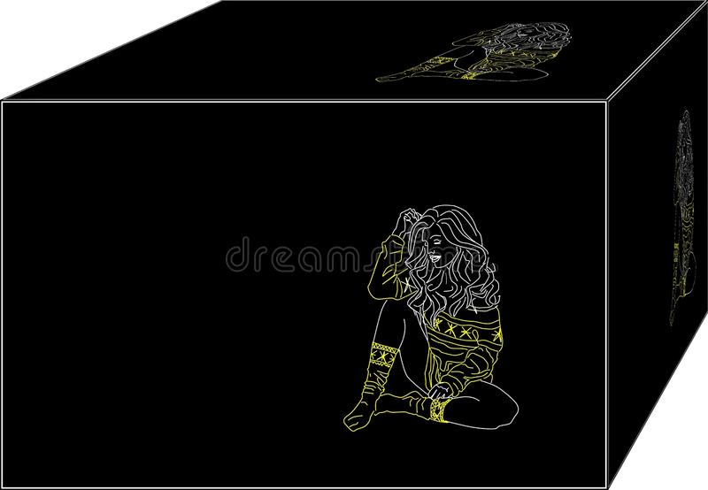 F?rdjupning ensam kvinna Bakgrund illustration 3d vektor illustrationer