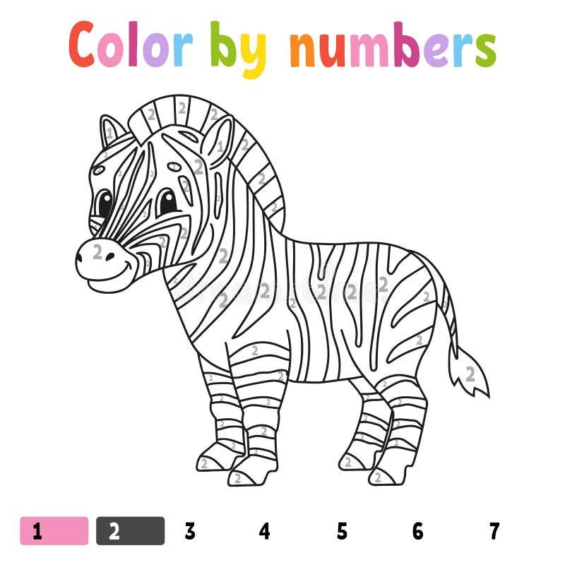 F?rg vid nummer F?rgl?ggningbok f?r ungar gladlynt tecken ocks? vektor f?r coreldrawillustration Gullig tecknad filmstil tecknad  vektor illustrationer