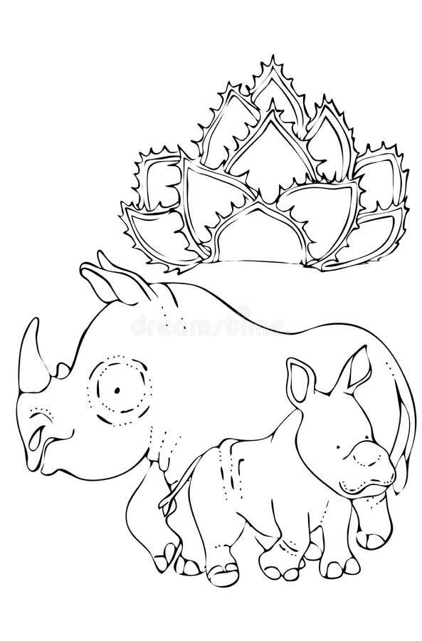 f?rga f?r ungar Djur av det l?st Noshörning och att behandla som ett barn noshörning royaltyfri illustrationer