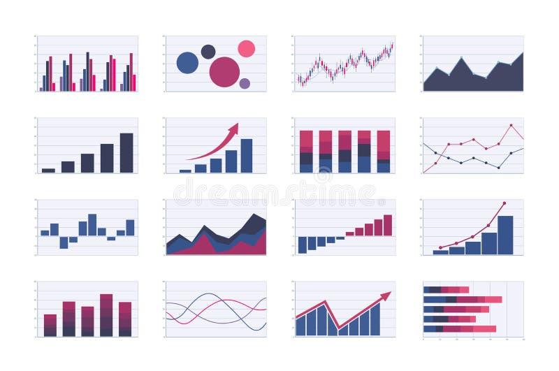 F?rgaff?rsgraf och diagramupps?ttning stång, linje, områden, bubbla och ljusstakegrafer bilder för vektor för analysdiagram stock illustrationer