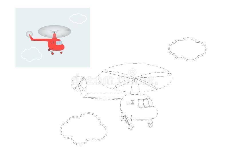 f?rgl?ggning Enkel bildande lek f?r barn Vektorillustration av en helikopter stock illustrationer