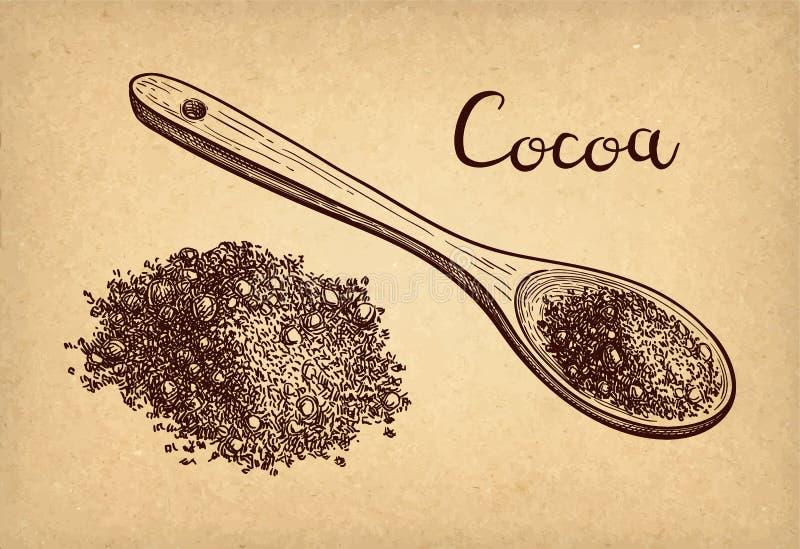 F?rgpulver skissar av kakaopulver stock illustrationer