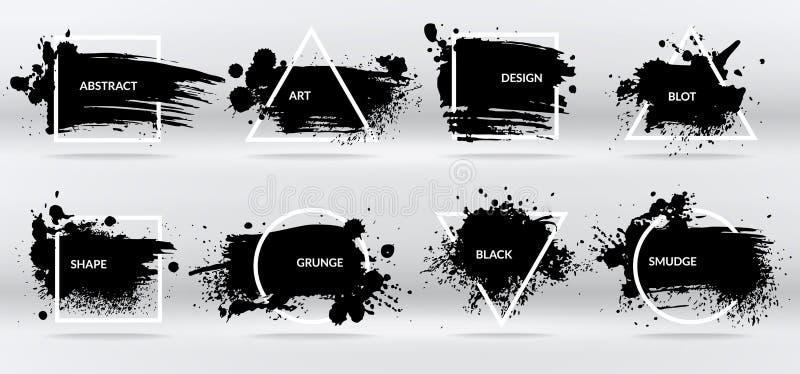 F?rgpulverfl?ckar Abstrakta former, ramar med svart penseldraggrungetextur Isolerad gränsvektoruppsättning royaltyfri illustrationer