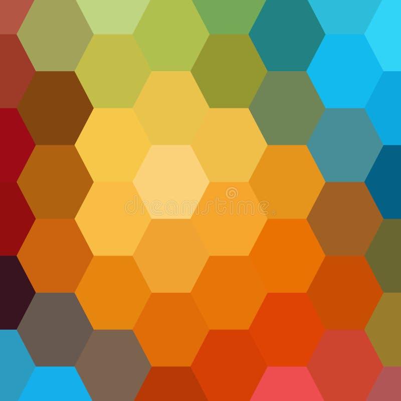 f?rgrik abstrakt bakgrund Sexh?rnig bakgrund f?r vektor 10 eps royaltyfri illustrationer