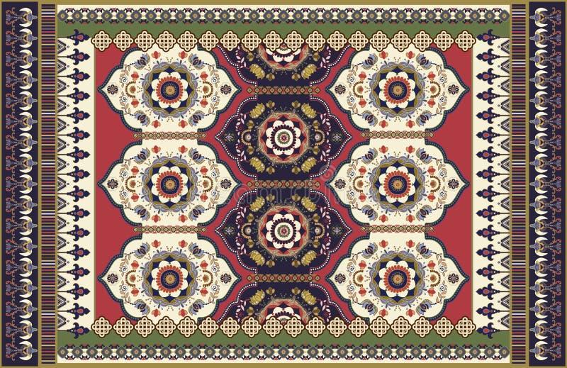 F?rgrik dekorativ vektordesign f?r filten, matta, tapis Persisk filt, textil Geometrisk blom- bakgrund _ royaltyfri illustrationer