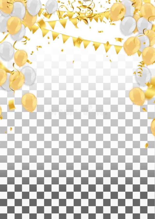 F?rgrik f?delsedagballong med buntingflaggor och konfettier vektor illustrationer