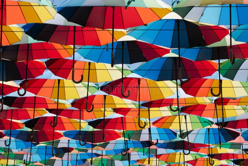 f?rgrik paraplyhimmel royaltyfri foto
