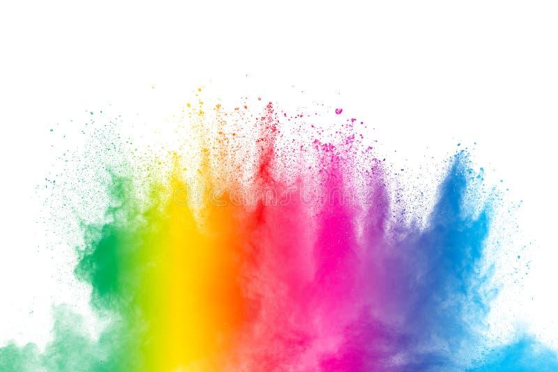 F?rgrik pulverexplosion p? vit bakgrund Abstrakt f?r dammpartiklar f?r pastellf?rgad f?rg f?rgst?nk arkivfoton