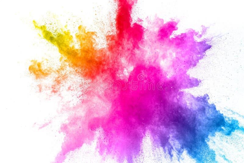F?rgrik pulverexplosion p? vit bakgrund Abstrakt f?r dammpartiklar f?r pastellf?rgad f?rg f?rgst?nk royaltyfri bild