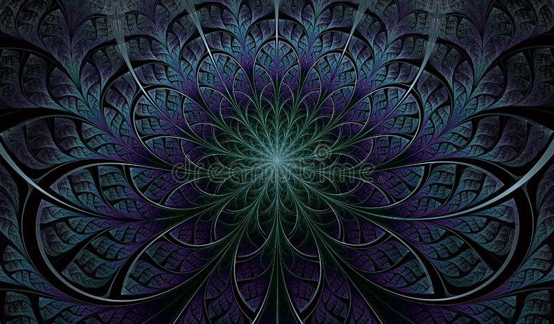 F?rgrik symmetrisk fractalblomma Digital konstverk f?r id?rik grafisk design yellow f?r modell f?r hj?rta f?r blommor f?r fj?rils stock illustrationer