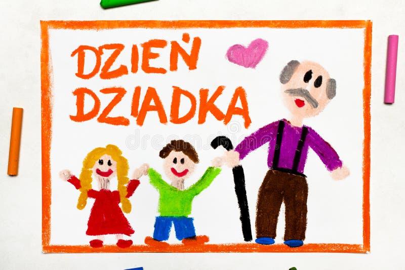 F?rgrik teckning: Polskt kort f?r dag f?r farfar` s royaltyfri fotografi