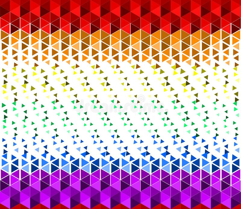 F?rgrik vinkande regnb?getexturbakgrund av sm? triangelformer, f?rger f?r LGBTQ-stolthetflagga, horisontals?ml?s modell arkivbild