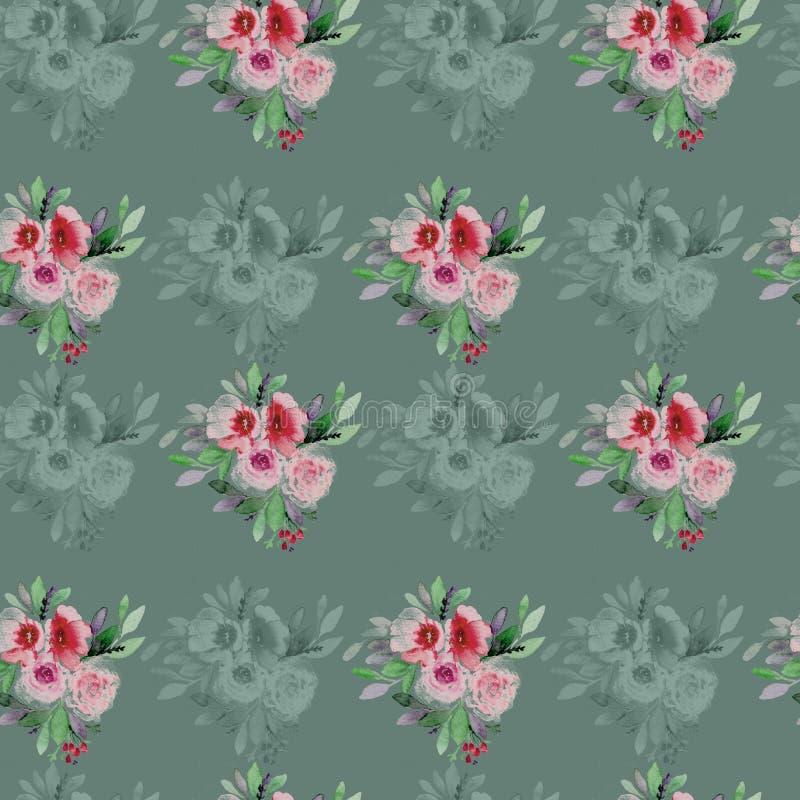 f?rgrika blommor f?r bakgrund Vattenf?rg - illustration royaltyfri illustrationer