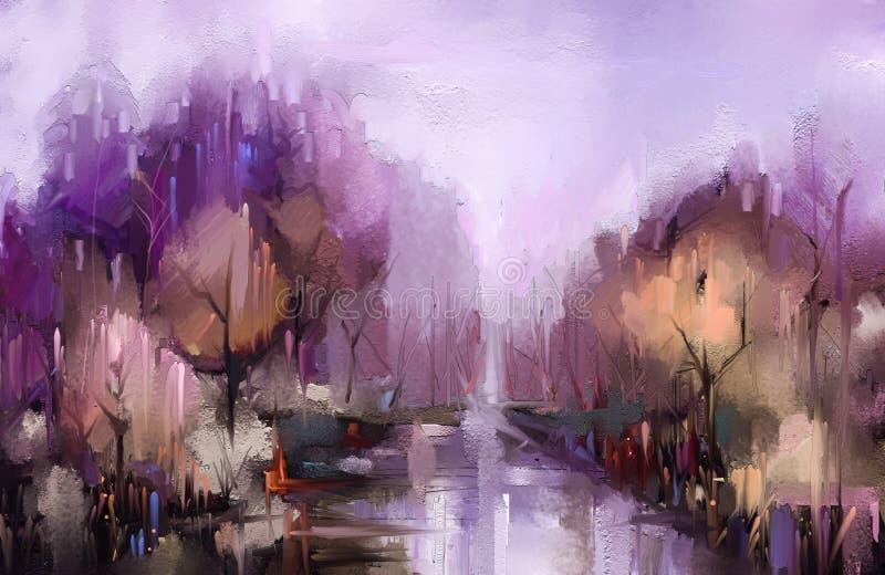 F?rgrika h?sttr?d f?r olje- m?lning Bild för tappningmålarfärgfärg av landskapet, skog med det gula röda bladet och sjön vektor illustrationer