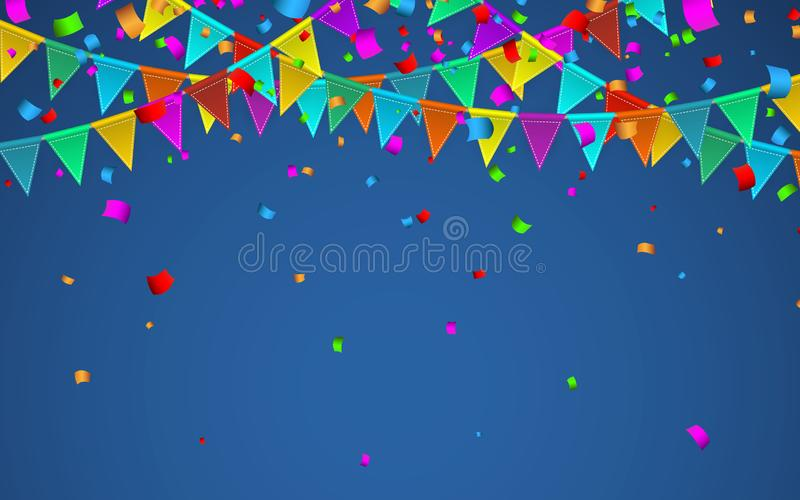 f?rgrika konfettiar Ber?mkarneval Partibakgrund med flaggor Lyxigt h?lsningkort ocks? vektor f?r coreldrawillustration vektor illustrationer