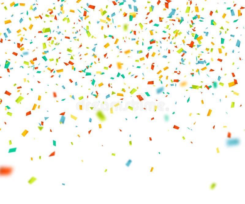 F?rgrika konfettier som p? m?f? faller Abstrakt bakgrund med flygpartiklar Vektorillustration f?r h?lsningkort vektor illustrationer