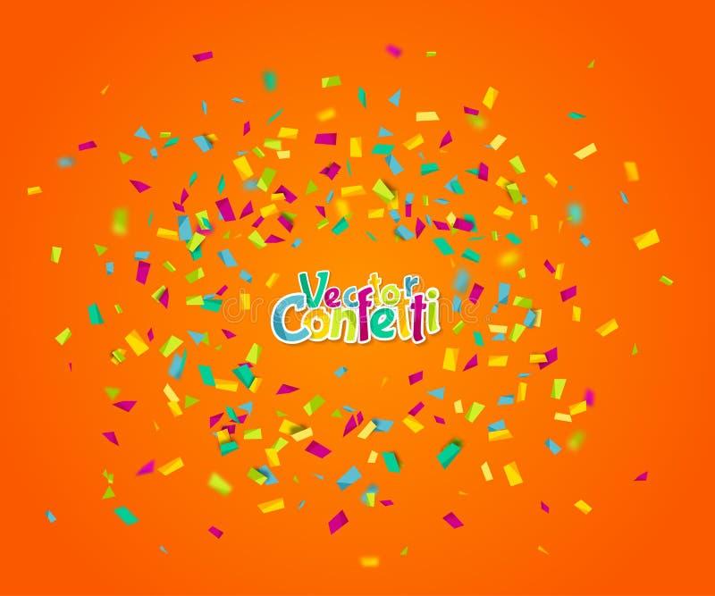 F?rgrika konfettier som p? m?f? faller Abstrakt orange bakgrund med explosionpartiklar Vektorillustration f?r royaltyfri illustrationer