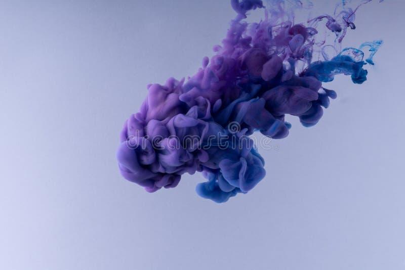 F?rgrikt f?rgpulver som virvlar runt i vatten Moln av silkeslent färgpulver på vit bakgrund royaltyfria bilder