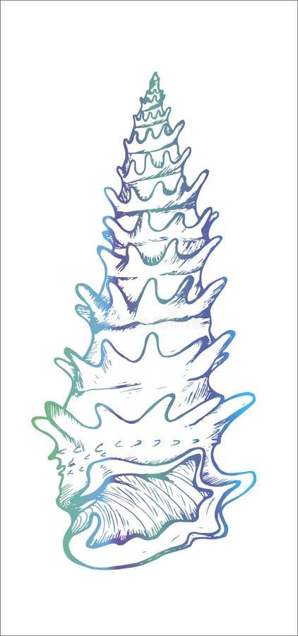 F?rgskalillustration Dra av ett hus av en snigel royaltyfri illustrationer