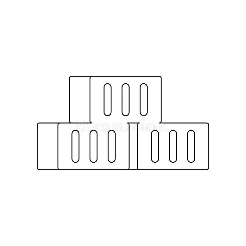 f?rgtegelstensymbol Best?ndsdel av konstruktionshj?lpmedel f?r mobilt begrepp och reng?ringsdukappssymbol ?versikt tunn linje sym vektor illustrationer