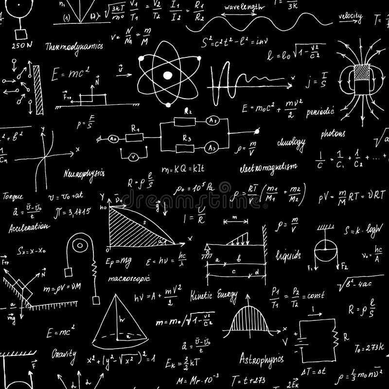 F?rmulas da f?sica Textura sem emenda Quadro-negro da escola com as f?rmulas e as equa??es ilustração stock
