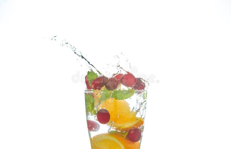 F?rnyande coctailar f?r sommar med citruns och mintkaramellen apelsin- och grapefruktsegment drink p? en svart tabell med iskuber royaltyfria bilder