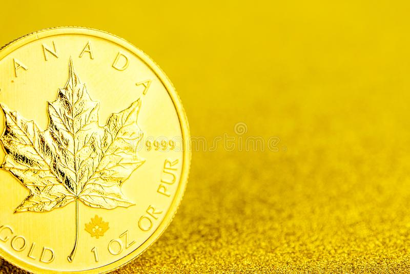 F?rsilvra och den guld- kanadensiska l?nnl?vet ett uns mynt p? guld- bakgrund royaltyfri fotografi