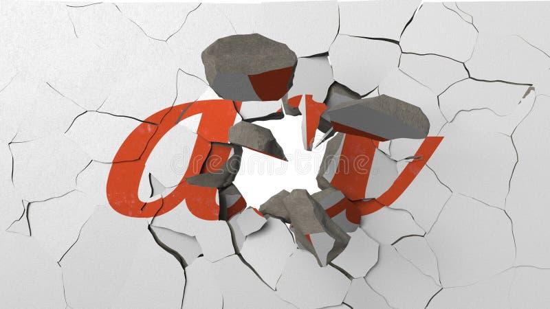 F?rst?rande v?gg med m?lad logo av au Krisen gällde den redaktörs- tolkningen 3D royaltyfri illustrationer
