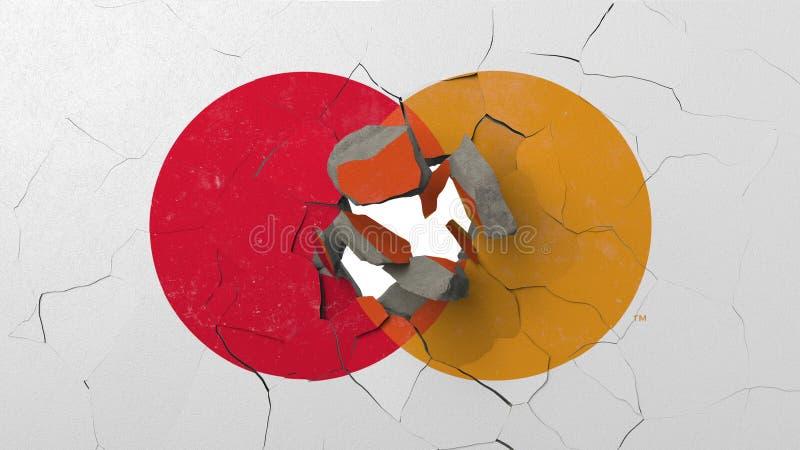 F?rst?rande v?gg med m?lad logo av Mastercard Krisen gällde den redaktörs- tolkningen 3D vektor illustrationer