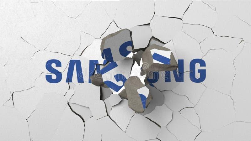 F?rst?rande v?gg med m?lad logo av Samsung Krisen gällde den redaktörs- tolkningen 3D vektor illustrationer