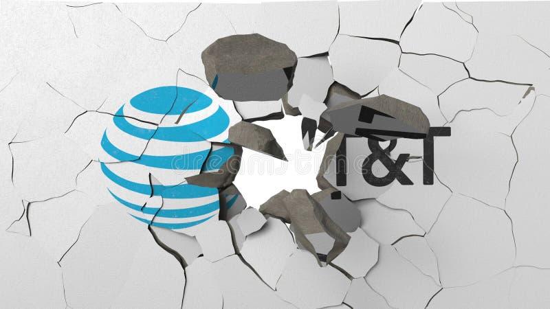 F?rst?rande v?gg med m?lad logo av AT&T Krisen gällde den redaktörs- tolkningen 3D royaltyfri illustrationer