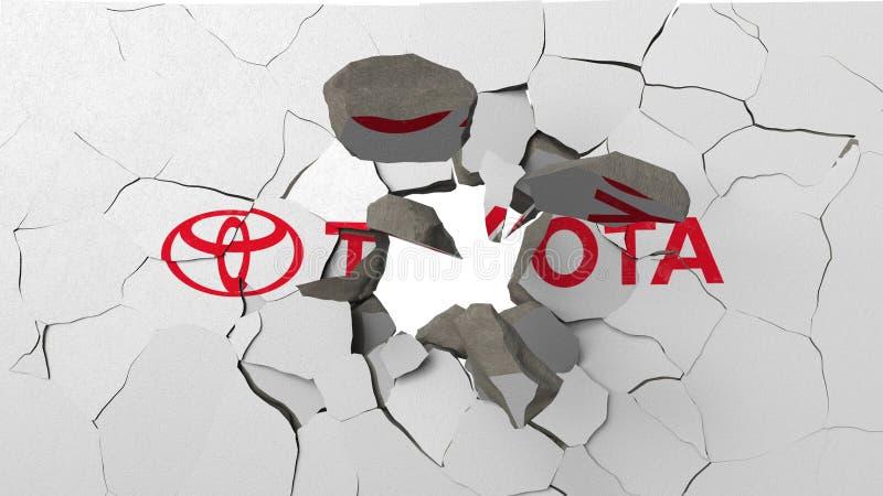 F?rst?rande v?gg med m?lad logo av Toyota Krisen gällde den redaktörs- tolkningen 3D vektor illustrationer