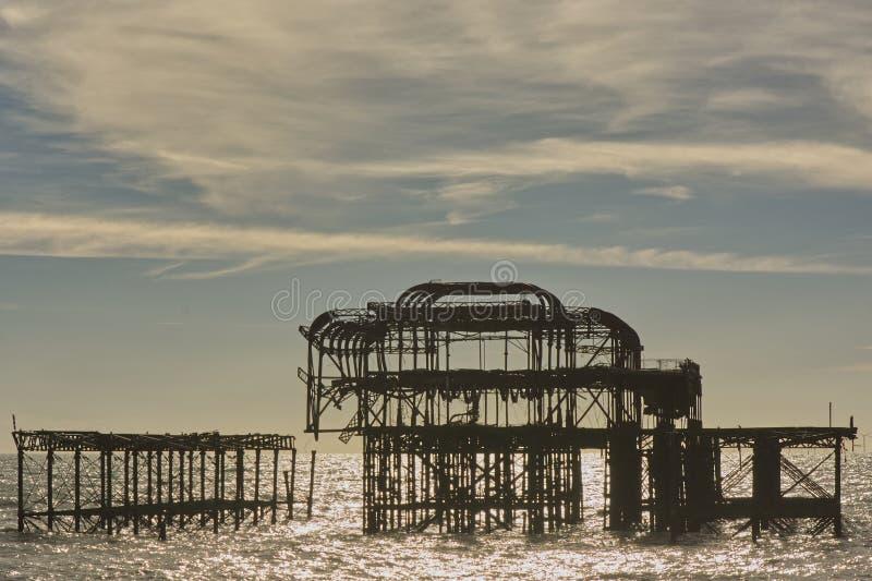 F?rst?rd v?stra pir, Brighton, Sussex, England royaltyfria bilder
