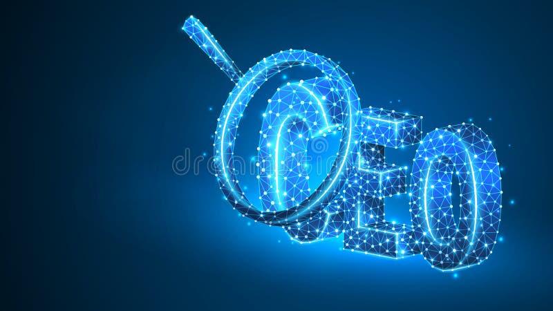 F?rstoringsglasanalys p? verkst?llande direkt?r, vdsymbol Ledarskap ledarskapbegrepp Abstrakt digitalt stock illustrationer