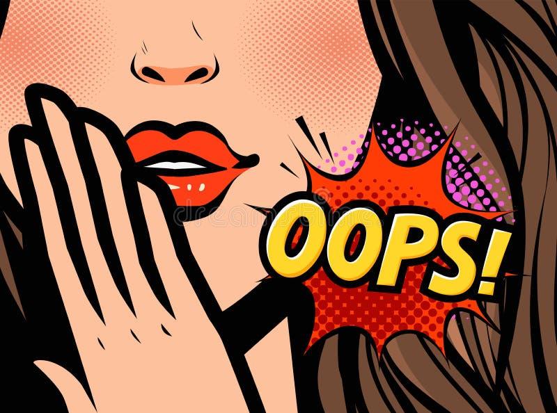 f?rv?nad kvinna Oops vektorillustration i retro komisk stil för popkonst vektor illustrationer