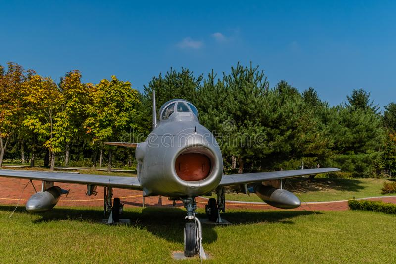 F-86F Sabre jet aircraft. Daejeon, South Korea; September 29, 2019: North American Aviation F-86F Sabre jet aircraft on display in public park at National stock photo