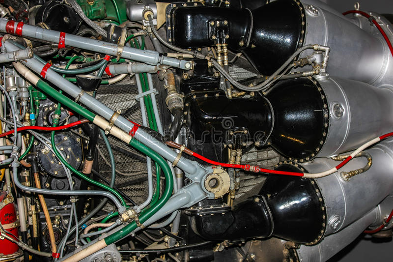 F-86 Sabre Jet Engine. Section of exposed F-86 Sabre jet engine showing components and electronics royalty free stock image