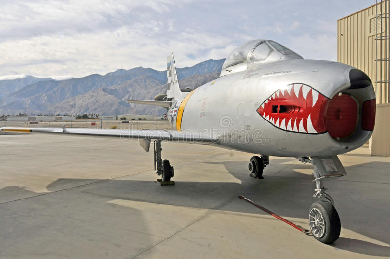F-86 Sabre Jet. First introduced in October 1947, The North American Aviation Sabre Jet was a transonic, swept wing fighter first used in the Korean War against stock image