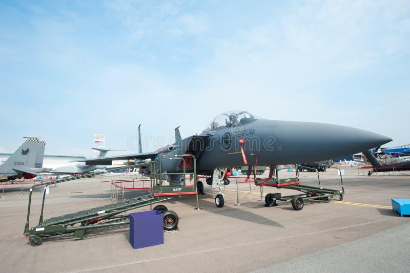 F15-SG im Singapur Airshow 2014 lizenzfreie stockfotografie