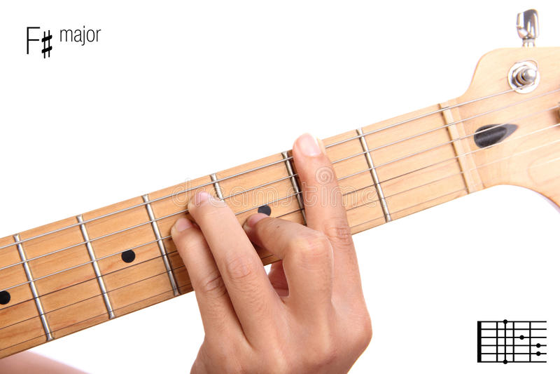 F Sharp Major Guitar Chord Tutorial Stock Image Image Of