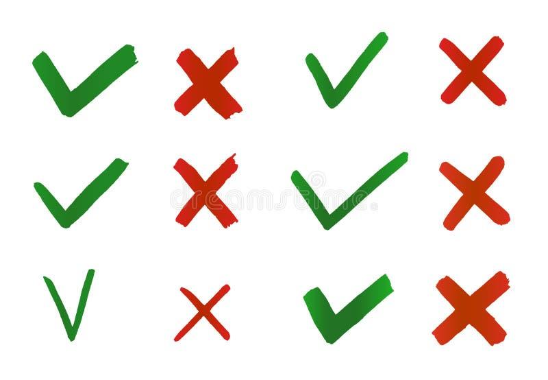 F?sting och kors f?r hand utdragen Indikering f?r kontrollfl?ckar f?r begrepp ja och inte vektor illustrationer