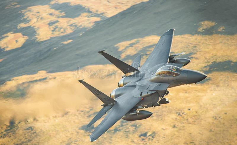 F15-Strike Eagle LL in Wales royalty free stock image