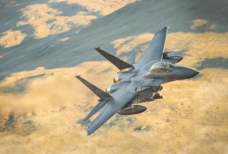 F15-Strike Eagle LL in Wales stock photography