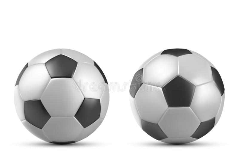 F?tbol, bal?n de f?tbol aislado en el fondo blanco stock de ilustración