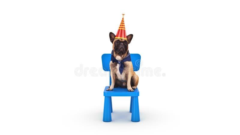 F?te d'anniversaire de chien rendu 3d images libres de droits