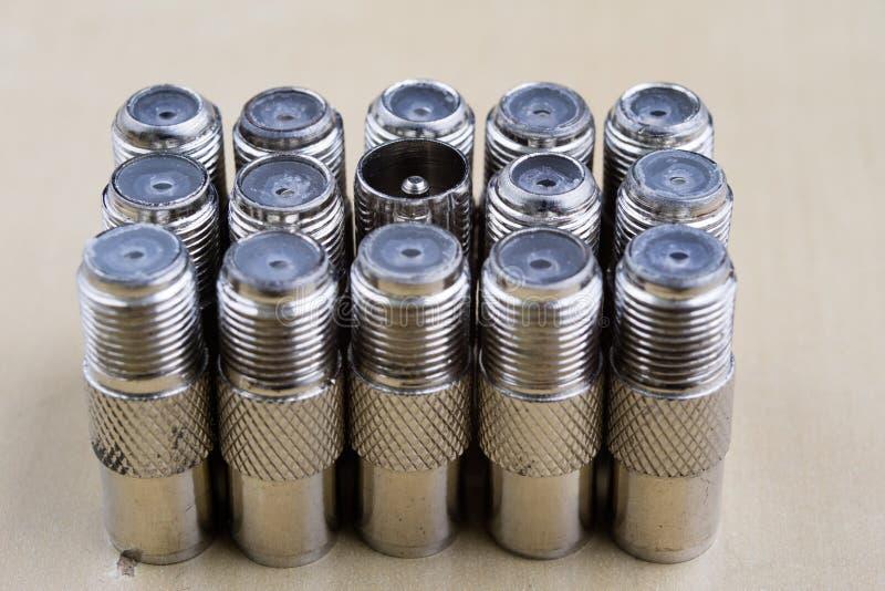 F-tipo conector na ampliação Acessórios usados para em imagens de stock