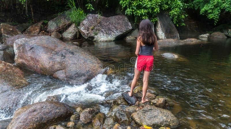 F?tterungsfische des jungen M?dchens durch den Fluss stockfoto