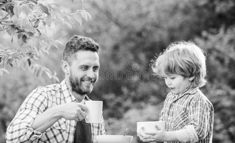 F?tterungssohn nat?rliche Nahrungsmittel Gesunde Nahrung Vater- und Jungengetr?nktee drau?en Entwickeln Sie Gewohnheiten der gesu stockfotos