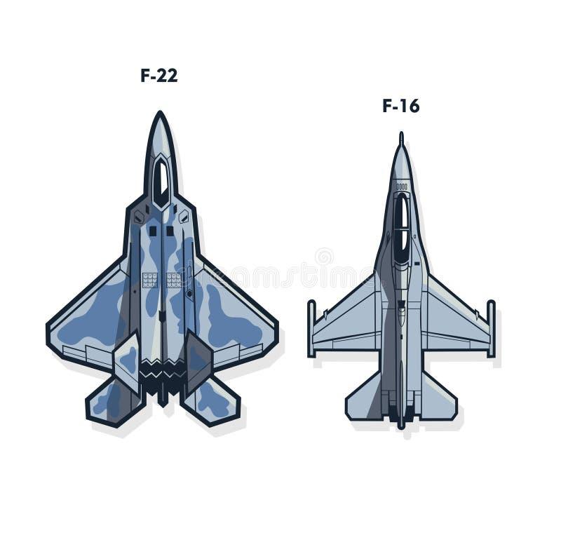 F-22 und -16 Kampfflugzeuge stock abbildung