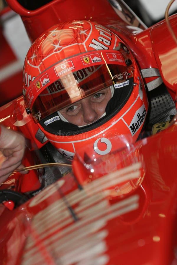 F1 2005 - Michael Schumacher Ferrari lizenzfreie stockbilder